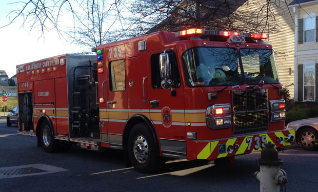 Clarksburg, MD firefighters responding to an emergency